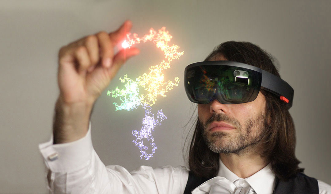 Cédric Villani interacting through Microsoft HoloLens